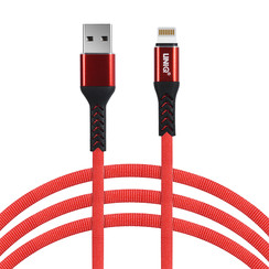 Blitz-USB-Kabel 200cm schnelle Datenübertragung Ladegerät Rot - Nylon