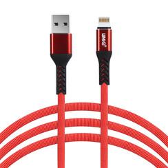 UNIQ Accessory snellader dataoverdracht Rood Lightning USB Kabel 200cm - Nylon