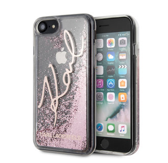 Karl Lagerfeld Apple iPhone SE2 (2020) & iPhone 8 Rose Gold Backcover hoesje - glitter Signature