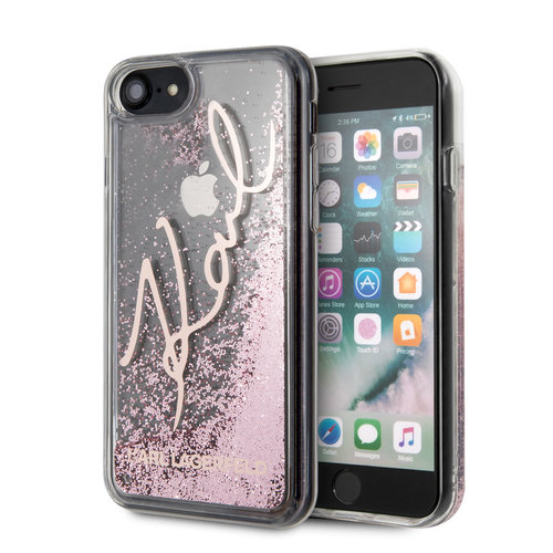 Karl Lagerfeld Karl Lagerfeld Apple iPhone SE2 (2020) & iPhone 8 Or rose Back cover coque - Signature glitter