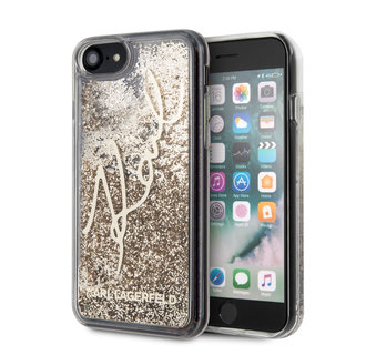 Karl Lagerfeld Apple iPhone SE2 (2020) & iPhone 8 Goud Backcover hoesje - glitter Signature