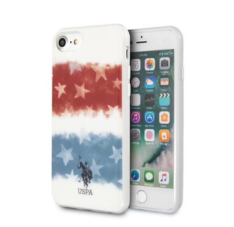 US Polo Apple iPhone SE2 (2020) & iPhone 8 Wit Backcover hoesje - Fading Amerikaanse vlag
