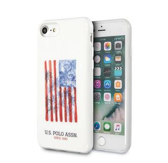 US Polo Apple iPhone SE2 (2020) & iPhone 8 Wit Backcover hoesje - Vlag van de Verenigde Staten