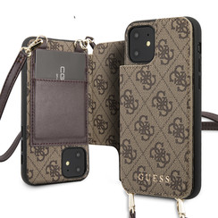 Guess Apple iPhone 11 Bruin Backcover hoesje - 4G Crossbody