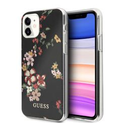 Guess Apple iPhone 11 Schwarz Back-Cover hul - Blumenmuster