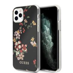 Guess Apple iPhone 11 Pro Max zwart Backcover hoesje - Bloemenpatroon