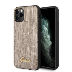 Guess Apple iPhone 11 Pro Max Goud Backcover hoesje - Metal Logo