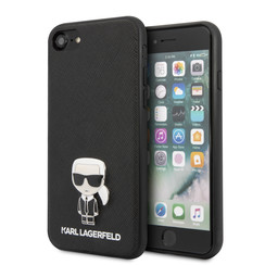 Karl Lagerfeld Apple iPhone SE2 (2020) & iPhone 8 zwart Backcover hoesje - Saffiano Iconik