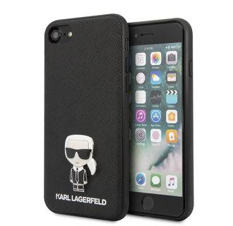 Karl Lagerfeld Apple iPhone SE2 (2020) & iPhone 8 zwart Backcover hoesje - Saffiano Iconik
