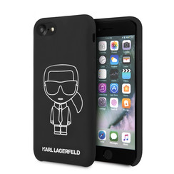 Karl Lagerfeld Apple iPhone SE2 (2020) & iPhone 8 zwart Backcover hoesje - Liquid Outline Neon