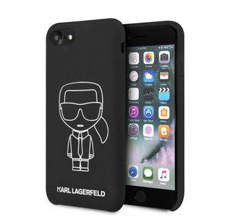 Karl Lagerfeld Apple iPhone SE2 (2020) & iPhone 8 zwart Backcover hoesje - Liquid Outline Neon