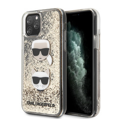 Karl Lagerfeld Apple iPhone 11 Pro Goud Backcover hoesje - Liquid Glitter