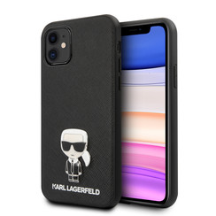 Karl Lagerfeld Apple iPhone 11 zwart Backcover hoesje - Saffiano Iconik