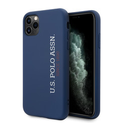US Polo Apple iPhone 11 Pro Blauw Backcover hoesje - verticaal Logo