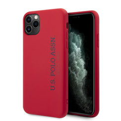 US Polo Apple iPhone 11 Pro Max Rood Backcover hoesje - verticaal Logo
