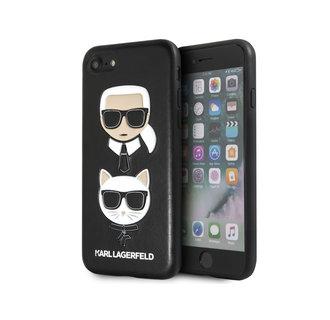 Karl Lagerfeld Apple iPhone SE2 (2020) & iPhone 8 zwart Backcover hoesje - In reliëf Choupette