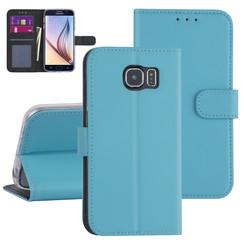 Samsung Galaxy S6 Lichtblauw Booktype hoesje - Kaarthouder