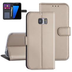 Samsung Galaxy S7 Edge Goud Booktype hoesje - Kaarthouder