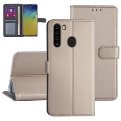 Samsung Galaxy A21 Goud Booktype hoesje - Kaarthouder