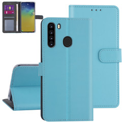 Samsung Galaxy A21 Lichtblauw Booktype hoesje - Kaarthouder