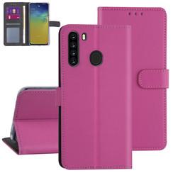 Samsung Galaxy A21 Felroze Booktype hoesje - Kaarthouder