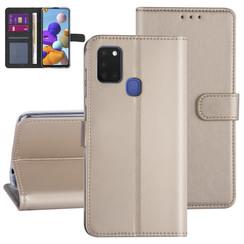 Samsung Galaxy A21S Goud Booktype hoesje - Kaarthouder