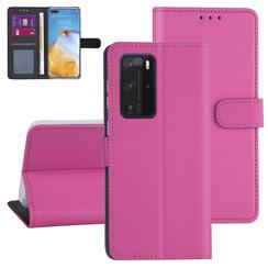 Huawei P40 Pro Felroze Booktype hoesje - Kaarthouder