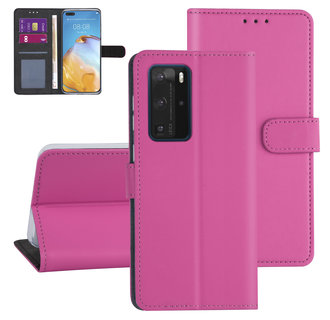 Huawei Huawei P40 Pro Hot pink Book type case - Card holder
