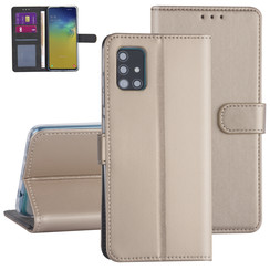 Samsung Galaxy A51 Goud Booktype hoesje - Kaarthouder
