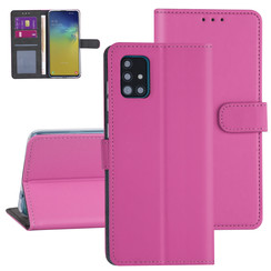 Samsung Galaxy A51 Felroze Booktype hoesje - Kaarthouder
