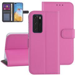 Huawei Huawei P40 Hot pink Book type case - Card holder