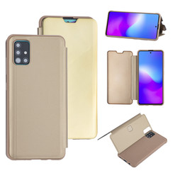 Samsung Galaxy A51 Goud Booktype hoesje - Hard plastic