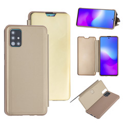 Samsung Galaxy A71 Goud Booktype hoesje - Hard plastic