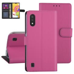 Samsung Galaxy A01 Rose vif Book type housse - Titulaire de la carte