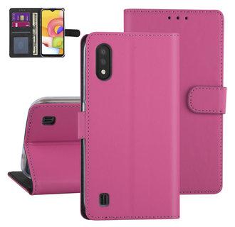 Samsung Galaxy A01 Felroze Booktype hoesje - Kaarthouder