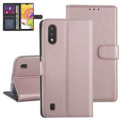 Samsung Galaxy A01 Or rose Book type housse - Titulaire de la carte