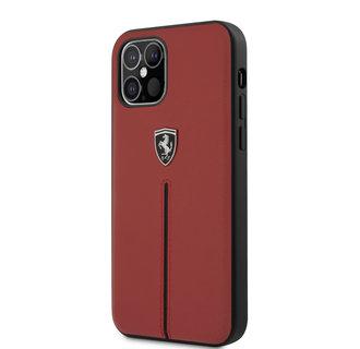 Ferrari Apple iPhone 12 / 12 Pro Rood Backcover hoesje - Zwarte streep