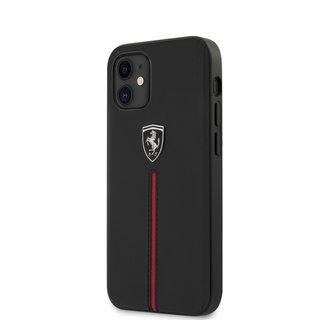 Ferrari Apple iPhone 12 Mini Black Back cover case - Red Stripe