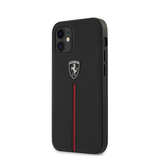 Ferrari Apple iPhone 12 Mini zwart Backcover hoesje - rode streep