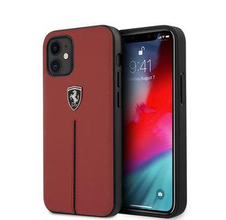 Ferrari Apple iPhone 12 Mini Rood Backcover hoesje - Zwarte streep