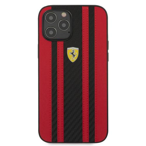 Ferrari Ferrari Apple iPhone 12 Pro Max Red Back cover case - Carbon Red Stripes