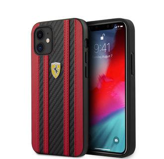 Ferrari Apple iPhone 12 Mini Red Back cover case - Carbon Red Stripes