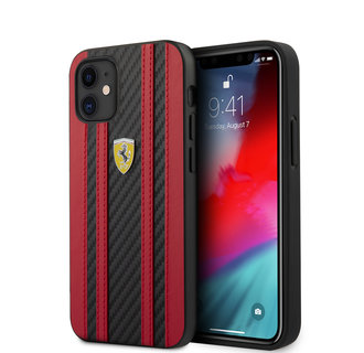 Ferrari Apple iPhone 12 Mini Rood Backcover hoesje - Carbon Red Stripes