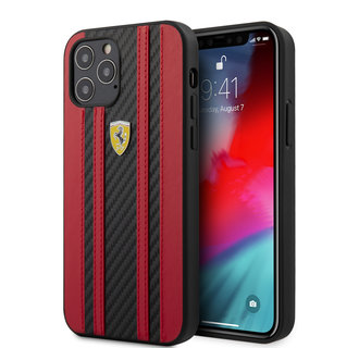 Ferrari Apple iPhone 12 / 12 Pro Rood Backcover hoesje - Carbon Red Stripes