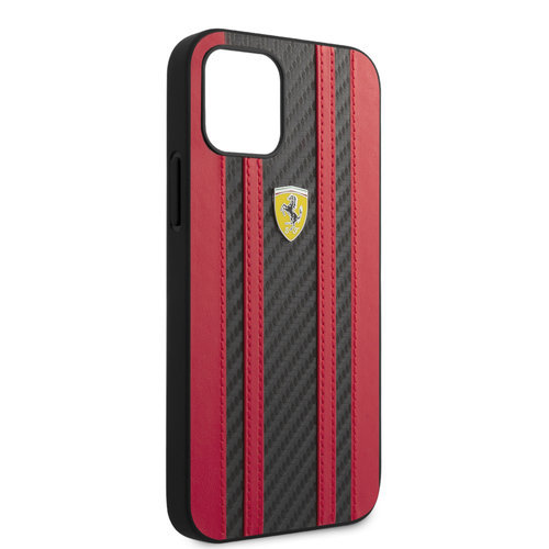 Ferrari Ferrari Apple iPhone 12 / 12 Pro Red Back cover case - Carbon Red Stripes