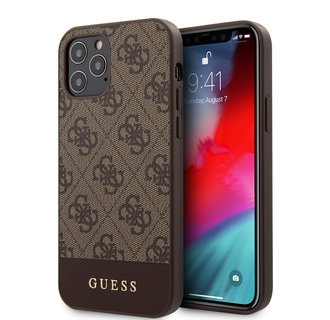 Guess Apple iPhone 12 / 12 Pro Bruin Backcover hoesje - TPU