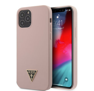 Guess Apple iPhone 12 / 12 Pro Pink Back cover case - Silicone