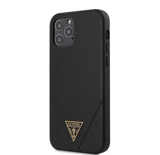 Guess Apple iPhone 12 / 12 Pro Black Back cover case - Saffiano