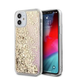 Guess Apple iPhone 12 Mini Goud Backcover hoesje - Liquid Glitter