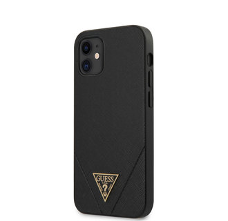 Guess Apple iPhone 12 Mini zwart Backcover hoesje - Saffiano